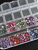 3000 Pcs Heart Shape Crystal Rhinestones Nail Art Gems With Case For Acrylic Tips UV Gel DIY Deco