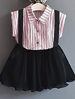 Mädchen Sets Streifen Baumwolle Polyester Sommer Ärmellos Kleidungs Set