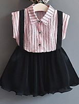 Girls' Stripe Sets,Cotton Polyester Summer Sleeveless Clothing Set