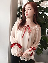 Women's Casual/Daily Simple Blouse,Solid Round Neck Long Sleeve Others