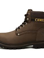 Кофейный-Для мужчин-Для прогулок Повседневный-Кожа-На плоской подошве-Удобная обувь-Ботинки