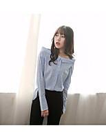 Women's Going out Casual/Daily Simple Shirt,Striped Boat Neck Long Sleeve Cotton