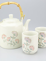 High Temperature Porcelain Flower Teapot set with Teapot (650ml) Two Cups(125ml each)