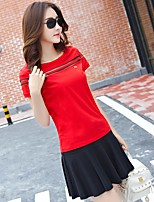 Women's Casual/Daily Sports Active T-shirt Skirt Suits,Solid Round Neck Mesh Micro-elastic