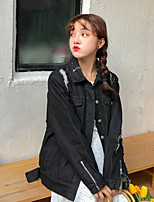 Women's Going out Casual/Daily Vintage Simple Spring Denim Jacket,Letter Solid Shirt Collar Long Sleeve Regular Cotton