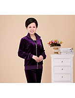 Women's Sports Simple T-shirt Skirt Suits,Solid Shirt Collar Long Sleeve Chiffon strenchy