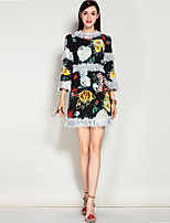MARY.YAN&YUWomen's Going out Casual/Daily Sexy Street chic A Line DressFloral Round Neck Midi Knee-length  Sleeve Polyester Spandex Spring Summer