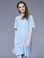Women's Going out Casual/Daily Simple Street chic Summer Shirt,Solid Shirt Collar Short Sleeve Rayon Thin