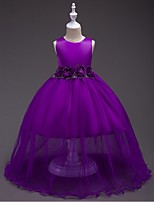 Ball Gown Ankle-length Flower Girl Dress - Organza Jewel with Bow(s) Flower(s) Ruching