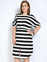 Really Love Women's Plus Size Casual/Daily Party Sexy Vintage Cute Loose Shift Black and White Dress,Striped Color Block Round Neck Midi½ Length