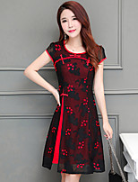 Women's Plus Size Casual/Daily Sexy Vintage A Line Loose Dress,Embroidered Round Neck Above Knee Short Sleeve Polyester Summer Mid Rise