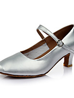 Customizable Women's Dance Shoes Leatherette Modern Heels Customized Heel Indoor Sliver