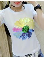 Feminino Camiseta Casual SimplesEstampado Algodão Decote Redondo Manga Curta Fina