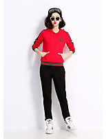 Women's Going out Casual/Daily Sports Cute Active Hoodie Pant Suits,Solid Color Block Hooded Long Sleeve strenchy