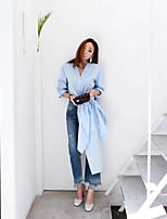 Chemise Femme,Couleur Pleine Sortie Vintage Manches Longues Col en V Coton