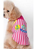 Dog Vest Dog Clothes Summer Cartoon Cute Casual/Daily Blue Fuchsia Yellow