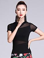 Latin Dance Tops Women's Performance Cotton Splicing 1 Piece Short Sleeve Natural Top