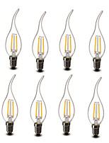 2W E14 LED svíčky CA35 2 COB 200 lm Teplá bílá Ozdobné AC 220-240 V 8 ks