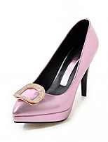 Women's Heels Spring Fall Comfort Leatherette Party & Evening Dress Casual Stiletto Heel Buckle Blushing Pink Sliver Gold