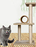 Cat Toy Pet Toys Interactive Luxury Climbing Rack Scratch Pad Durable Wood Sisal Beige