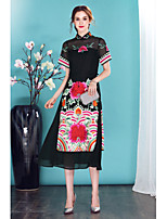 I-YECHO Women's Going out Casual/Daily Chinoiserie Sheath DressEmbroidered Stand Midi Short Sleeve Silk Spring Summer Mid Rise Inelastic Thin