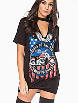 Women's Going out Club Vintage Spring Summer T-shirt,Print Halter Short Sleeve Spandex Medium