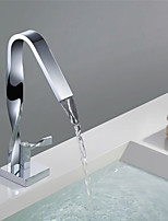 Contemporary Tall Waterfall Spout Ceramic Valve Single Handle Single Hole Chrome Finish Bathroom Basin Sink Faucet
