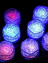 12Pcs Changing Color Novelty Gadget Led Light Ice Rose Shaped  Ice Cubes Decorative Led Luminous Flash Light Ice