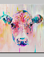 Hand-Painted Modern Abstract Animal Cow Oil Painting On Canvas Wall Art For Home Decoration Ready To Hang