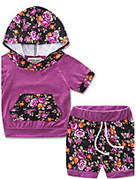 Girls' Going out Casual/Daily Sports Leopard Color Block SetsCotton Hoodie Summer Short Pant Clothing Set