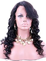 Brasilianska jungfruliga hårspets främre peruker lösa våg mänskliga jungfruhår limfria spetsparycken för svart kvinna