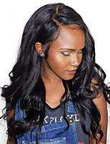 Onda de corpo natural onda de cabelo humano virgem rendas peruca de laço frente peruca de cor natural cor preta com cabelo do bebê