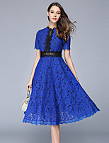 Spring Summer Women's Dresses Going out Casual/Daily Cute Lace Dress Stand Short Sleeve