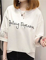 Women's Casual/Daily Simple Spring Summer T-shirt,Embroidered Round Neck ½ Length Sleeve Polyester Medium