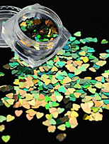 1g/bottle 3MM New Fashion Sweet Nail Art Creative Heart Shape Glitter Green Sequins Thin Slice Sparkling Decoration For Nail Art DIY Beauty SC015G