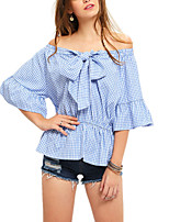 Women's Boat Neck Houndstooth Casual/Daily Simple Cute Check Bow Off the Shoulder T-shirt Shirt Blouse