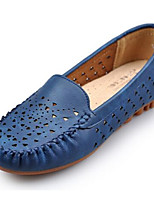 Белый Красный Синий-Для женщин-Повседневный-Полиуретан-На плоской подошве-Удобная обувь-Мокасины и Свитер