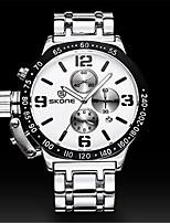 SKONE Homens Relógio Esportivo Relógio de Moda Chinês Quartzo Silicone Banda Prata
