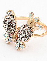 Korean Style Gold Elegant Luxury Rhinestone Butterfly  Ring - Butterfly Princess