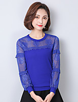 Women's Going out Casual/Daily Simple Sophisticated All Seasons Blouse,Solid Round Neck Long Sleeve Cotton Rayon