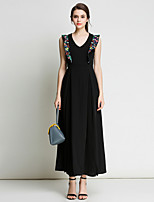 Women's Party Sexy Sophisticated Sheath Chiffon Dress Embroidered V Neck Maxi Sleeveless Spring Summer