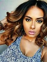 Ombre t1b / marrom cor lace frente perucas cabelo humano onda solta 130% densidade brazilian virgem cabelo glueless rendas perucas para a