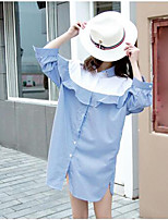 Women's Casual/Daily Simple Shirt,Striped Color Block Shirt Collar Long Sleeve Cotton