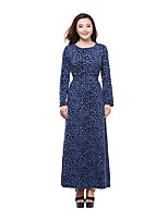 Women's Plus Size Casual/Daily Holiday Sheath Swing Dress,Animal Print Round Neck Maxi Long Sleeve Polyester Summer Mid Rise Micro-elastic