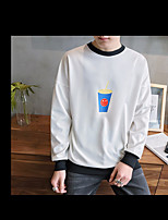 Men's Plus Size Casual/Daily Sports Active Sweatshirt Print Oversized Round Neck Micro-elastic Spandex