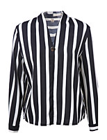 Women's Going out Casual/Daily Simple Spring Summer T-shirt,Striped Round Neck Long Sleeve Polyester