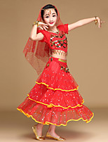 Belly Dance Outfits Kid's Performance Chiffon Spandex Coins Sequins 5 Pieces Short Sleeve Dance Costume Natural Top /Hip Scarf /Skirt /Headpiece /Veil