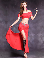 Belly Dance Outfits Women's Performance Modal 2 Pieces Short Sleeve Natural Top Skirt