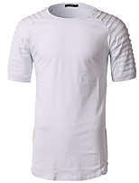 4 Colors Plus Size M-3XL  Men's Casual/Daily Simple Summer T-shirt Solid Round Neck Short Sleeve Cotton Medium