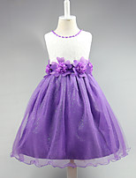 Ball Gown Knee-length Flower Girl Dress - Lace Satin Tulle Jewel with Bow(s) Flower(s) Pearl Detailing Sash / Ribbon
